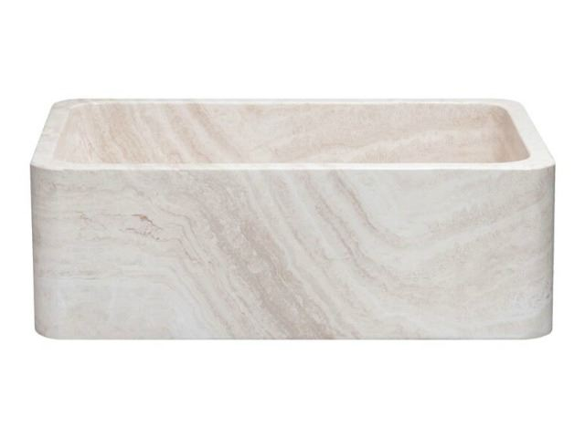 "Picture of 30"" Travertine Single Well Stone Farmhouse Sink"