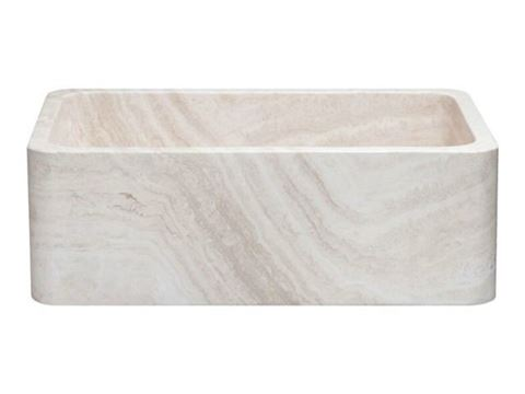 "30"" Travertine Single Well Stone Farmhouse Sink"