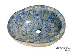 Granite Boulder Bath Sink with Blue Sodalite Mosaic