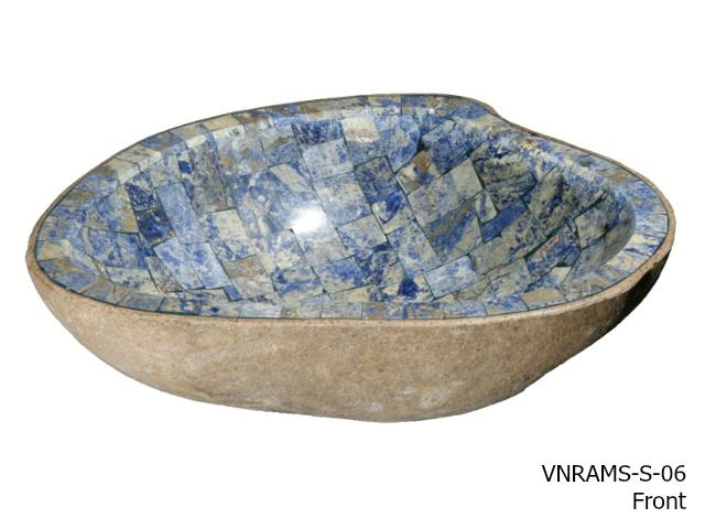 Picture of Granite Boulder Bath Sink with Blue Sodalite Mosaic