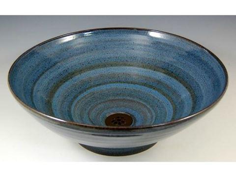 Delta Ceramic Vessel Sink in Vibrant Broken Blue