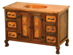 Large Single Sink Wood and Copper Vanity