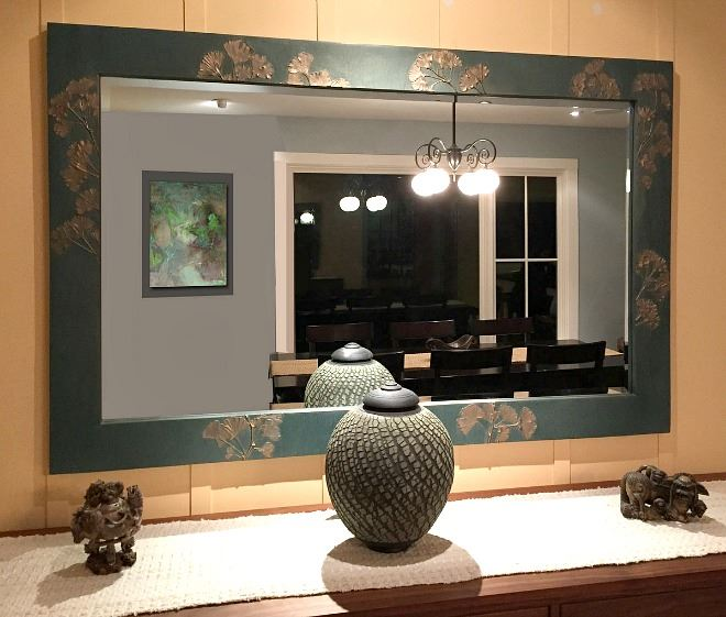 Picture of Ginkgo Branch Handcrafted Rectangle Mirror