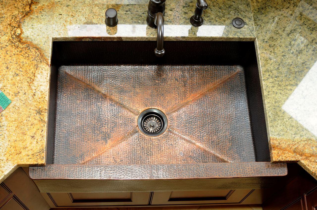 """Picture of 33"""" Fruit Bandolier Copper Farmhouse Sink- SALE"""