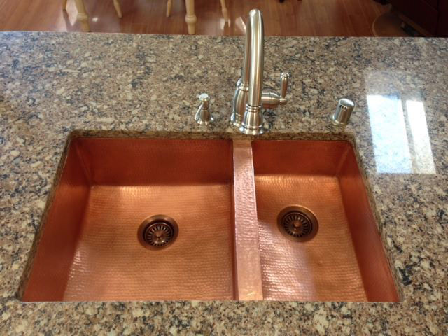 Picture of Double Well Copper Kitchen Sink - 60/40 by SoLuna