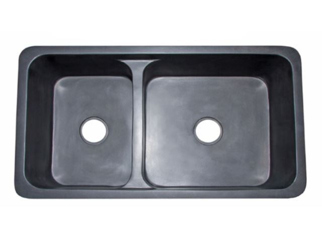 Picture of 60/40 Black Lava Double Well Farmhouse Sink