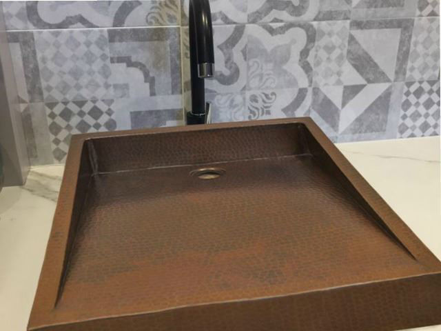 Picture of Sloping Copper Vessel Sink by SoLuna