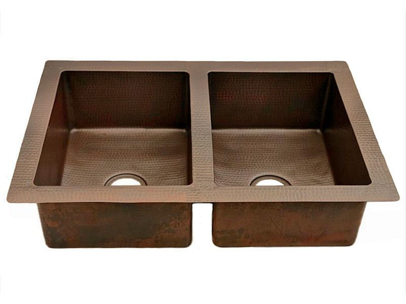 Picture of Double Well Copper Kitchen Sink - 50/50 by SoLuna