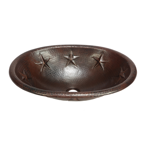 "Picture of 19"" Oval Copper Bathroom Sink - Texas Star by SoLuna"