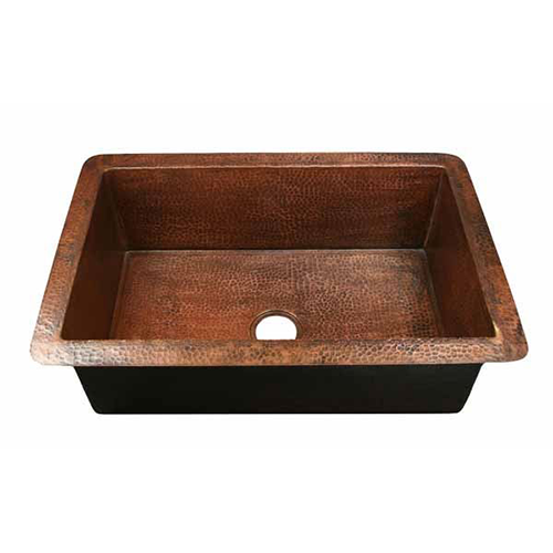 Picture of Single Well Copper Kitchen Sink by SoLuna