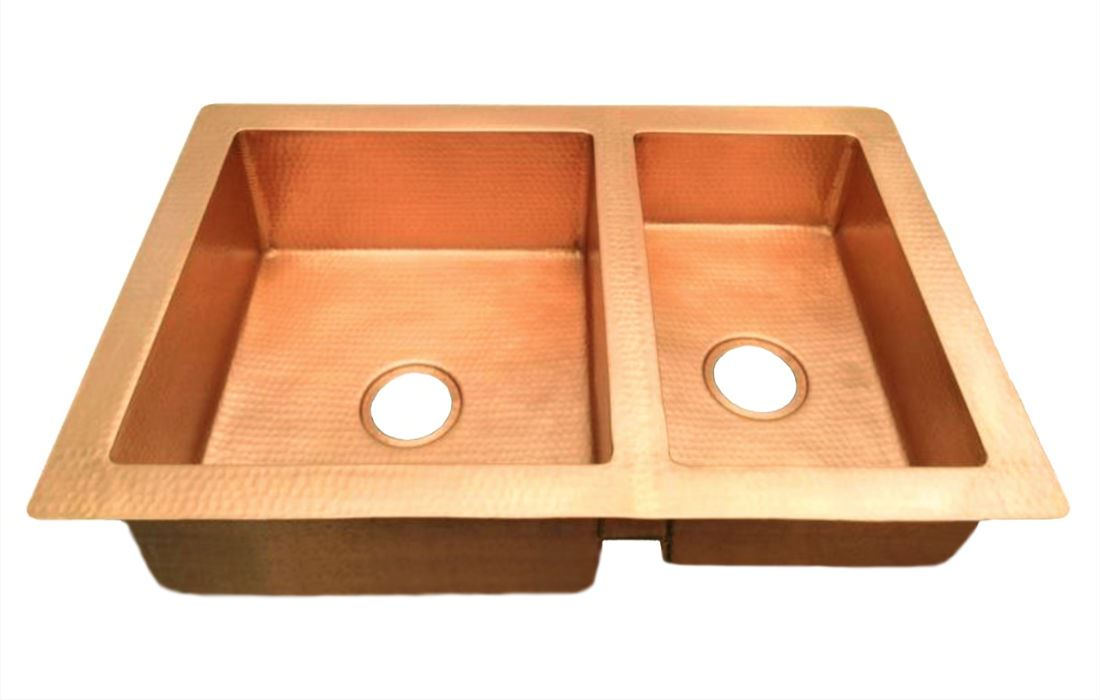 "Picture of 36"" Double Well Copper Kitchen Sink - 60/40 by SoLuna"