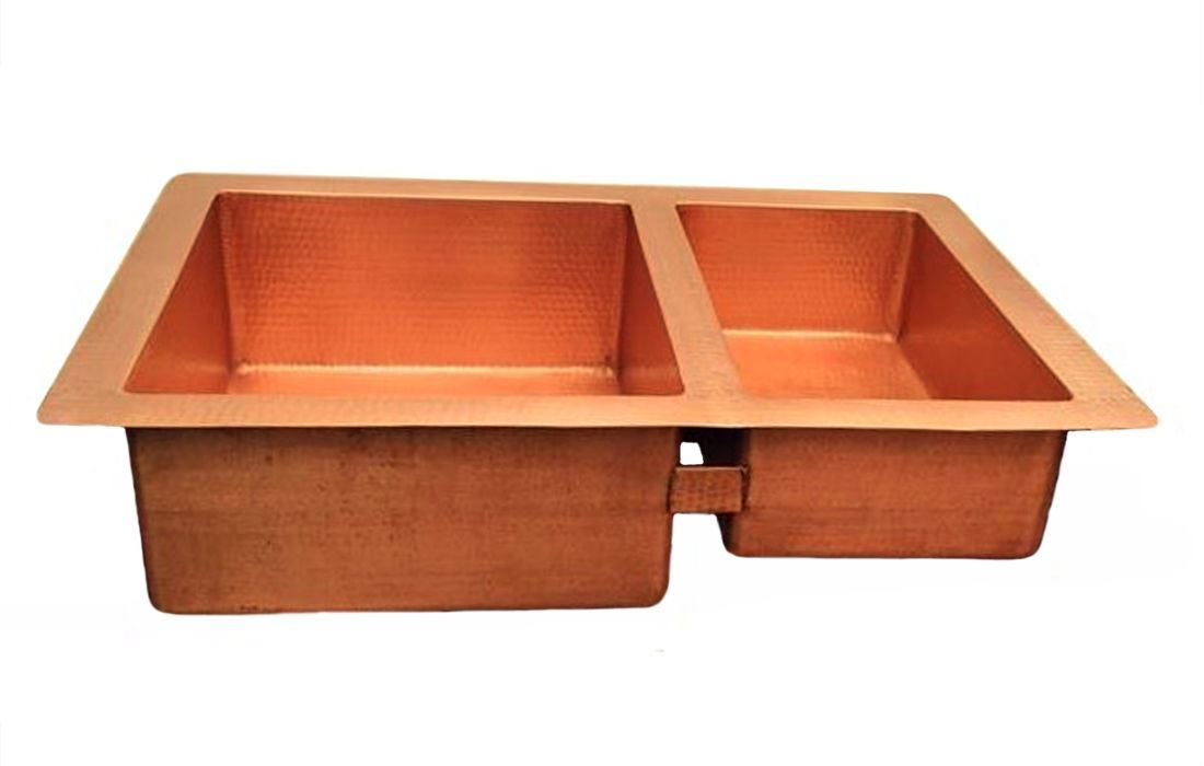"Picture of 33"" Double Well Copper Kitchen Sink - 60/40 by SoLuna - Matte Copper"