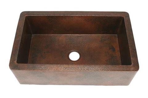"""30"""" Single Well Copper Farmhouse Sink by SoLuna on Dark Smoke - SALE"""