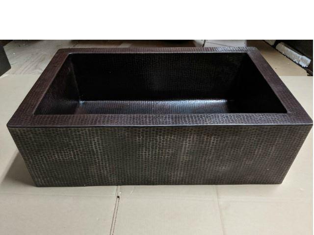 "Picture of 30"" Single Well Copper Farmhouse Sink by SoLuna on Dark Smoke - SALE"