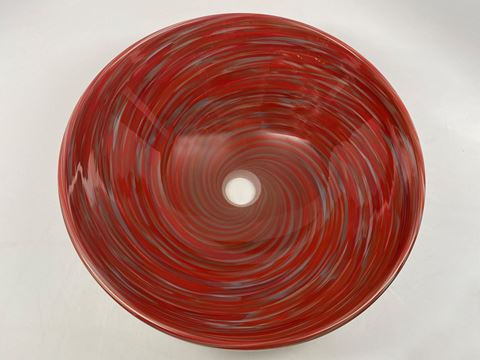 Blown Glass Sink - Crimson Grey Swirl