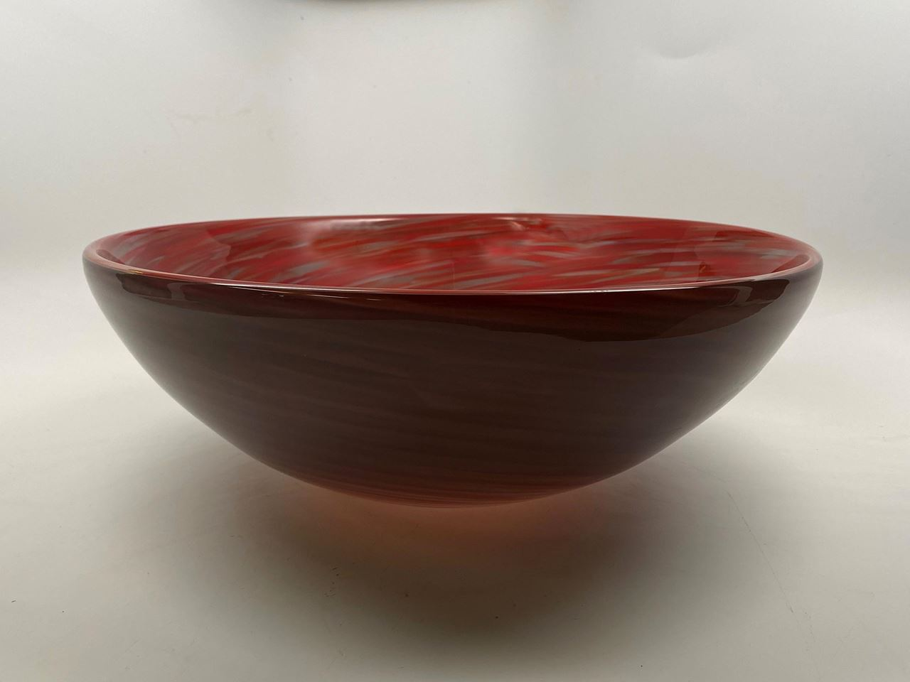 Picture of Blown Glass Sink - Crimson Grey Swirl