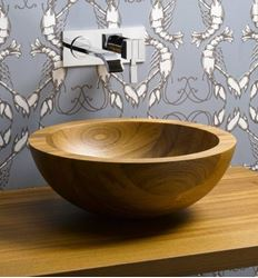 Picture of Helio Basin Teak Wood Vessel Sink - SALE