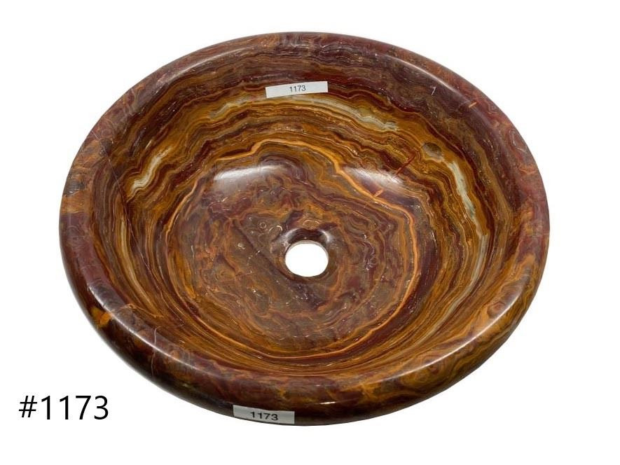 Picture of SoLuna Round Red Onyx Vessel Bath Sink - Sale