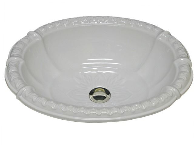 """Picture of Marzi 20"""" Fluted Oval Sink with Romanesque Relief Rim"""