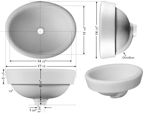 Picture of Marzi Sinks' Hammered Semi Recessed Vessel
