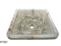 Picture of SoLuna White Onyx Square Vessel Sink - Sale