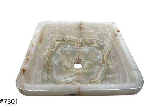 SoLuna White Onyx Square Vessel Sink - Sale
