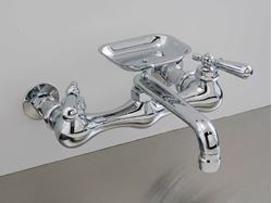 Picture of Strom Plumbing Swivel Spout Wall-Mount Kitchen Faucet with Soap Dish & Lever Handles