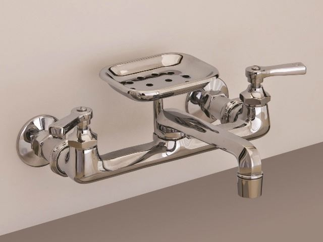 Picture of Strom Plumbing Deco Wall Mount Kitchen Faucet with Soap Dish & Lever Handles