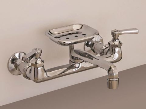 Strom Plumbing Deco Wall Mount Kitchen Faucet with Soap Dish & Lever Handles