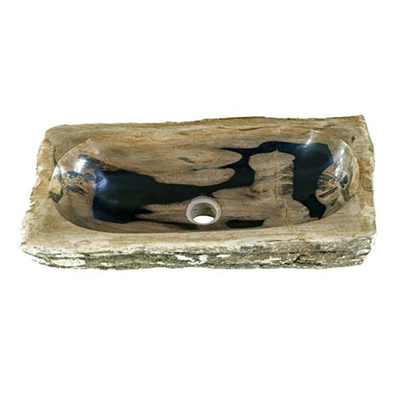 "Medium Rectangular Petrified Wood Sink 20""-21"""