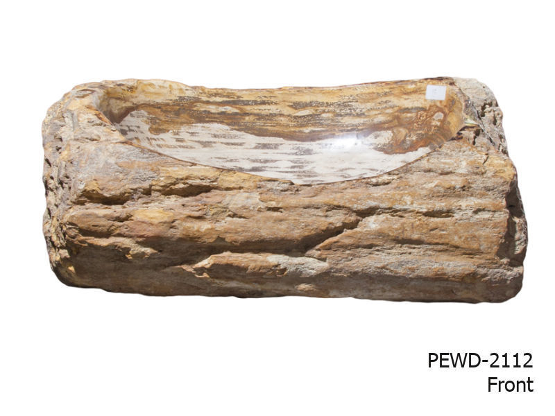 """Picture of Medium Brown and Beige Petrified Wood Sink 22""""-25"""""""
